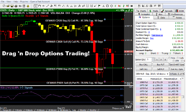 Options Tab - Track 'n Trade LIVE