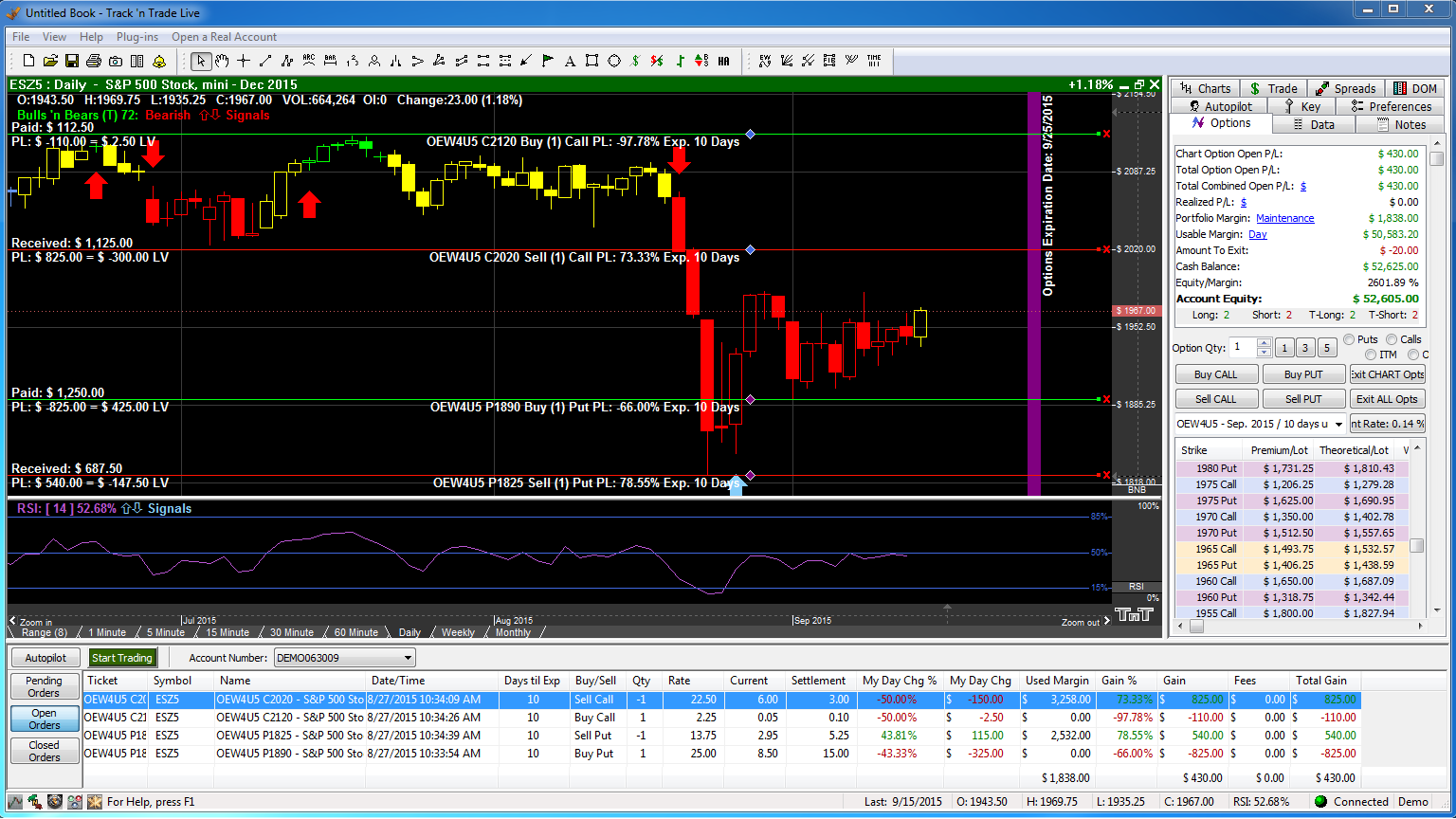 Option spread trading system