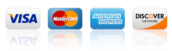 we accept Visa, Mastercard, American Express, Discover Cards